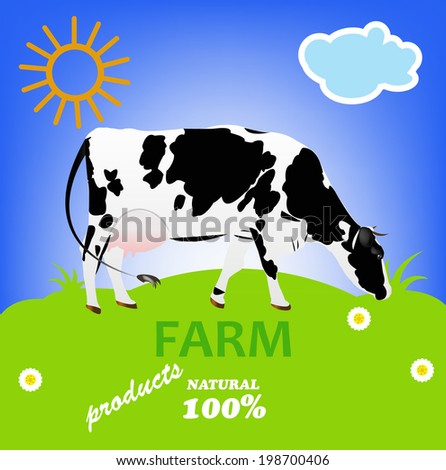 Cow.Natural Dairy Fresh Farm Product.Vector - stock vector