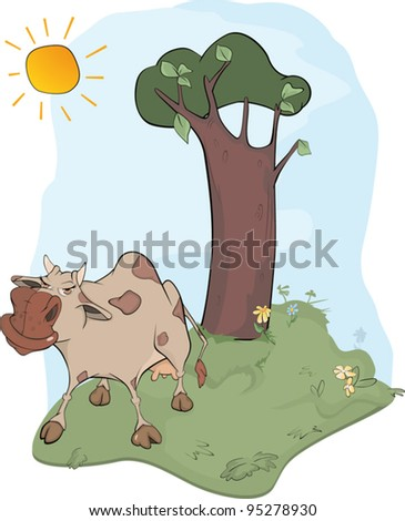 Cow on a meadow. Cartoon