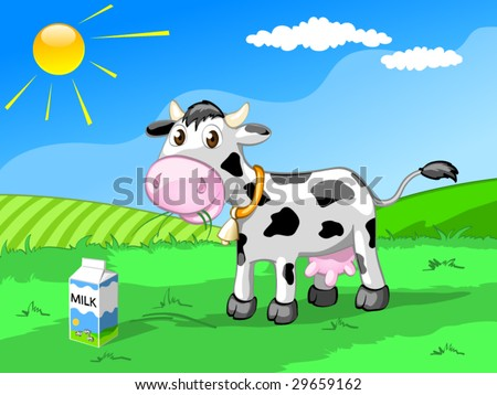 cow on the meadow - stock vector