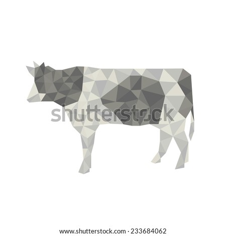 cow origami  - stock vector