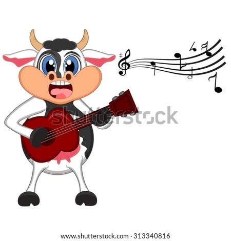 Cow playing guitar cartoon - stock vector