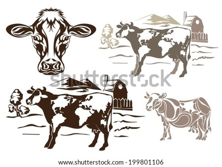 Cow set design - stock vector