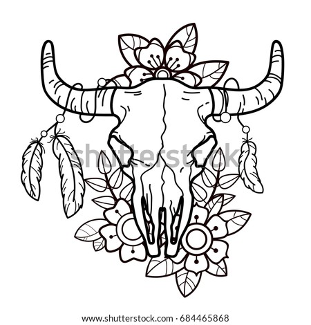 cow skull flowers feathers old school stock vector 684465868 shutterstock. Black Bedroom Furniture Sets. Home Design Ideas