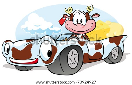 cow with cheese go by car - stock vector
