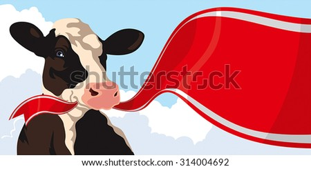 Cow with red ribbon on a background of blue sky - stock vector