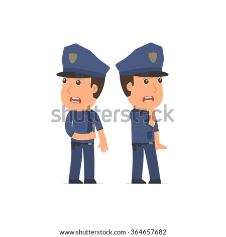 Cowardly Character Officer heard something and very scared. for use in presentations, etc.