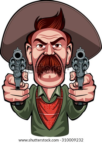 cowboy aiming with revolvers - stock vector