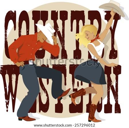 cowboy cowgirl dancing country western danceのベクター画像素材