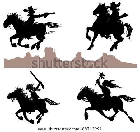 Cowboy and Indian silhouettes. - stock vector
