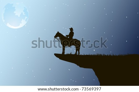 Cowboy at night