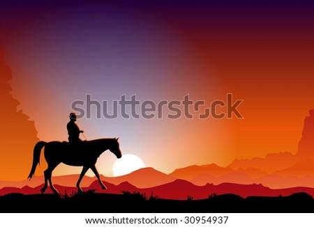 Cowboy at Sunset - stock vector
