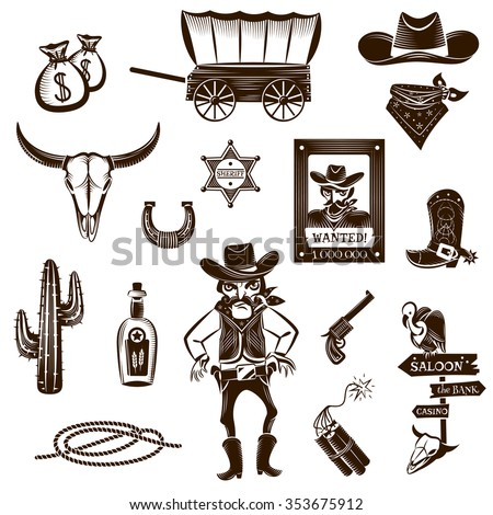 Cowboy black white icons set with Wild West symbols flat isolated vector illustration  - stock vector