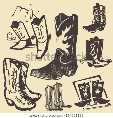 Cowboy Boot Collection - stock vector