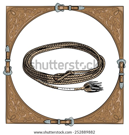Cowboy calf rope in the western leather frame on white background. Vector - stock vector