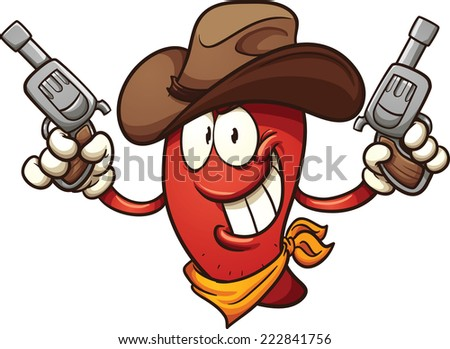 Cowboy chili pepper holding two revolvers. Vector clip art illustration with simple gradients. All in a single layer.  - stock vector
