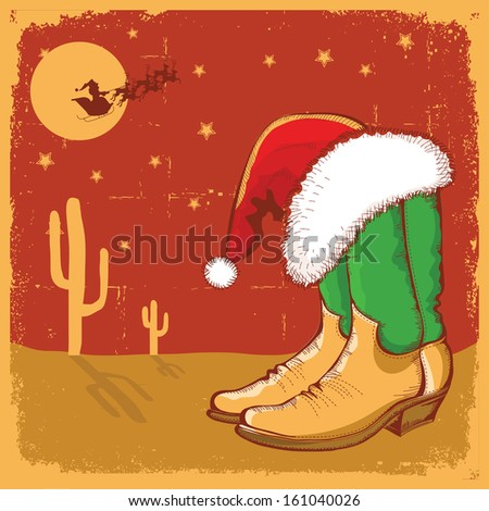 Cowboy christmas card with american boots and Santa in night sky.Vector illustration for design - stock vector