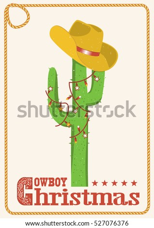 Cowboy christmas  card with cactus and western hat.Greeting card with text