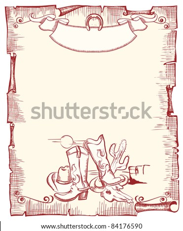 Cowboy elements . wild western background .Vector scroll for text - stock vector