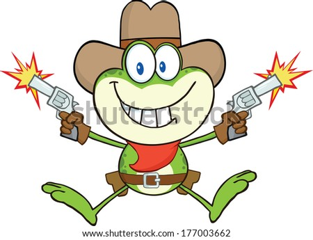 Cowboy Frog Cartoon Character Shooting With Two Guns. Vector Illustration Isolated on white