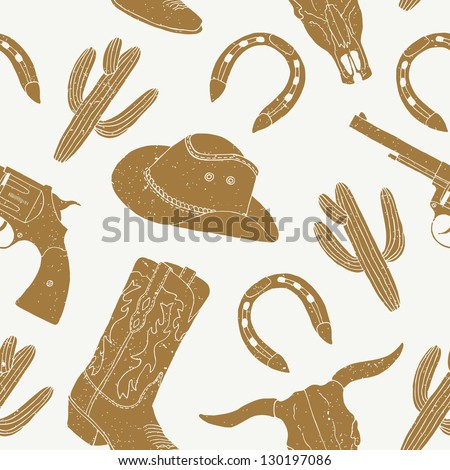 cowboy hand drawn seamless pattern - stock vector