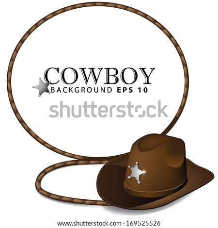 Cowboy hat and lasso leather background. EPS 10 vector, grouped for easy editing. No open shapes or paths. - stock vector