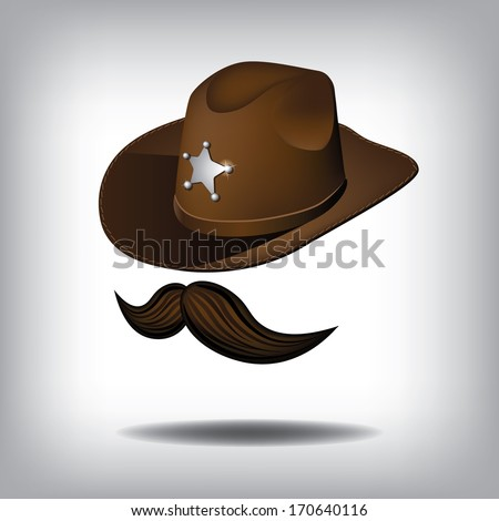 Cowboy hat and mustache. EPS 10 vector, grouped for easy editing. No open shapes or paths. - stock vector