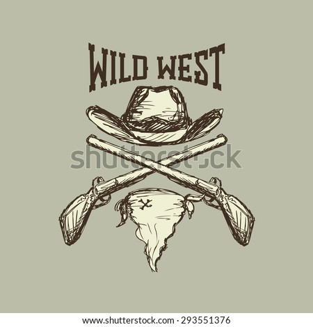 Cowboy hat and scarf,gun, wild west, eps 10 - stock vector
