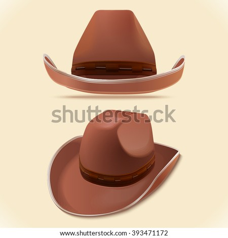 Cowboy hat in two perspectives, vector illustration - stock vector