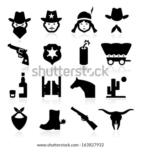 Cowboy Icons - stock vector