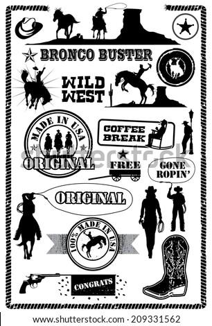 Cowboy icons, vector - stock vector