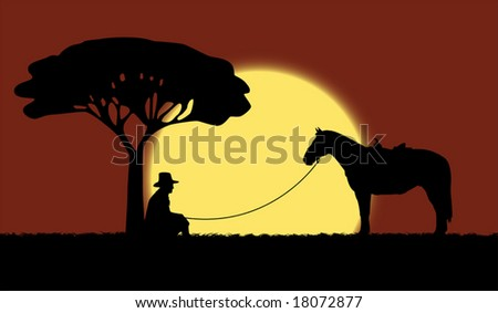 Cowboy is sitting near the tree and the horse is staying near him - stock vector