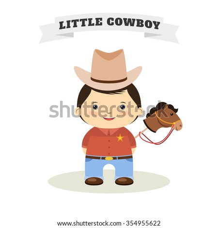 Cowboy kid and toy horse. Flat design Vector illustration - stock vector