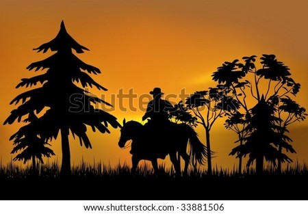 Cowboy on a horse over sunset - stock vector