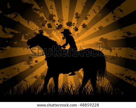 cowboy on field - stock vector