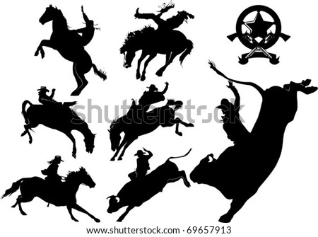 Cowboy on horse silhouettes on a white background - stock vector