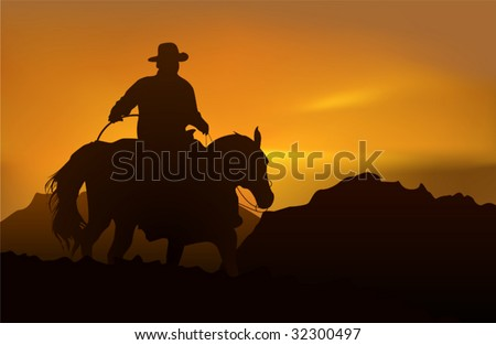 Cowboy over realistic mountains and sunset - stock vector