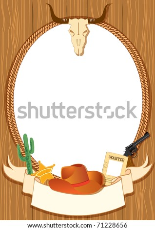 Cowboy poster background for design with vector cowboy elements - stock vector