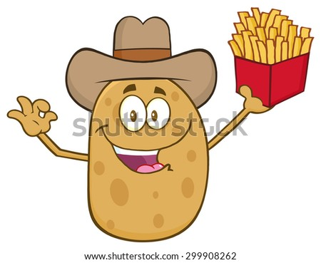Cowboy Potato Character Gesturing Ok And Holding A French Fries. Vector Illustration Isolated On White - stock vector