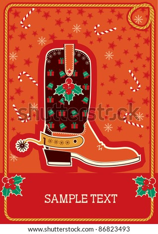 Cowboy red christmas  card with boots and holiday decoration for text - stock vector