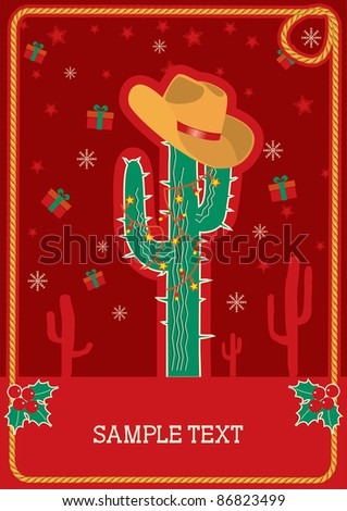 Cowboy red christmas  card with green cactus and winter holiday decoration for text - stock vector