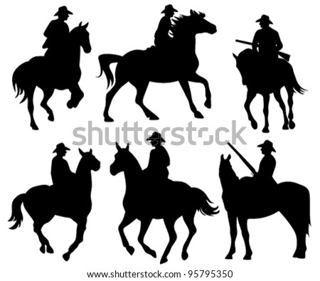 cowboy riding a horse - set of black vector silhouettes on white - stock vector