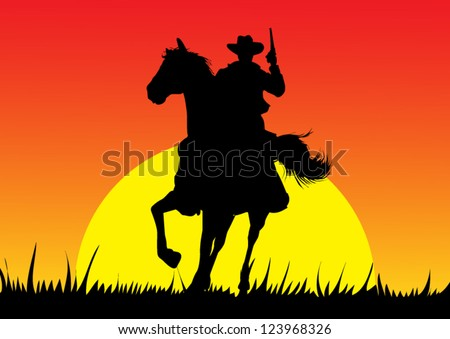 Cowboy silhouette - stock vector