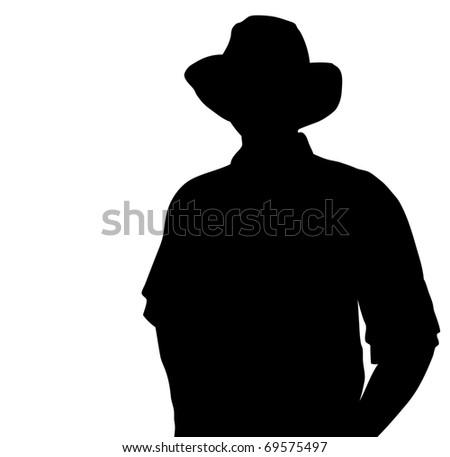 Cowboy silhouette. Vector - stock vector