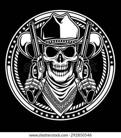Cowboy Skull Hold Guns - stock vector