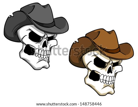 Cowboy skull in brown hat for tattoo or mascot or idea of logo. Jpeg version also available in gallery - stock vector