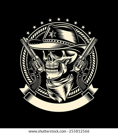 Cowboy Skull with Handguns - stock vector