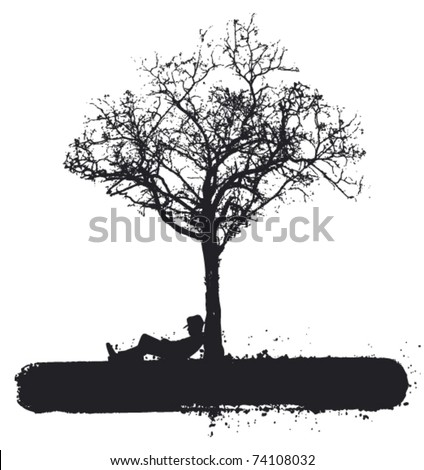 cowboy sleeping under the tree - stock vector