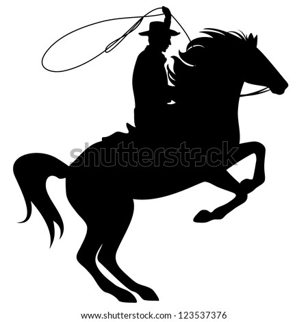 cowboy throwing lasso riding rearing up horse - black silhouette over white - stock vector