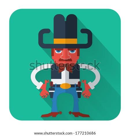 Cowboy with guns.Vector icon of flat design style illustration - stock vector
