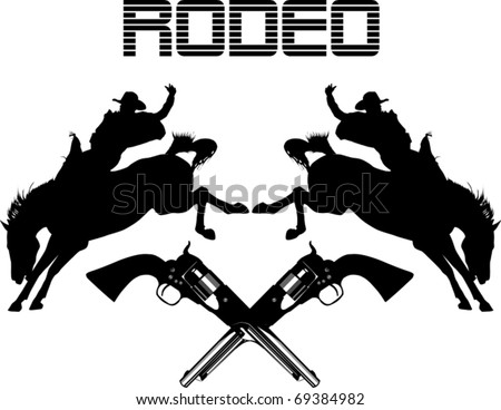 Cowboys on horses silhouettes on a white background - stock vector